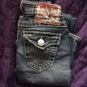 True religion light blue jeans thick stitched